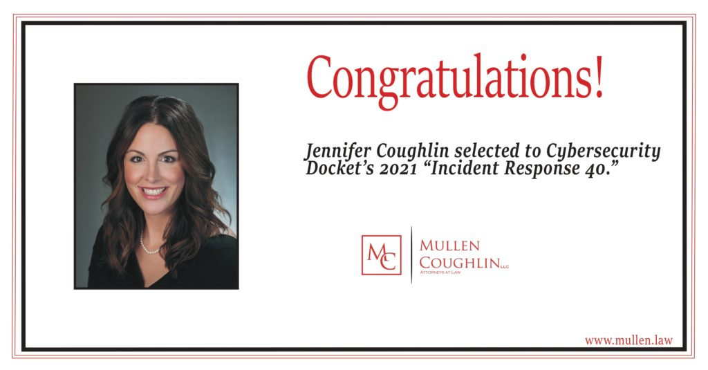 "Banner congratulating Jenn Coughlin on her selection to the ""Incident Response 40."""